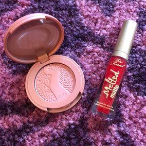 Tarte blush and too faced liquid lip